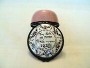 18th C. Staffordshire Enamel Patch Box Lay Hold On Time While In Your Prime