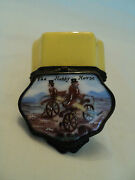 19th C. Staffordshire Enamel Patch Box The Hobby Horse C. 1820and039s