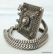 Ancient Antique Ethnic Tribal Old Silver Chain Pendant Necklace House Amulet Ind