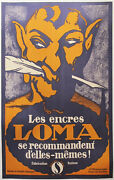 1920s Vintage Swiss Art Deco Poster Les Encres Loma Ink And Fountain Pen Ad