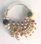 Vintage Antique Ethnic Tribal Solid 20k Gold Jewelry Pearl Nose Ring Nath
