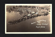 Milford Lake Okoboji Iowa Ia 1943 Rppc Aerial View Of Walther League Camp Bay