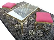 Luigi Colli Italy Set Chess Coffee Table In Work Iron Years And03940 Perfect