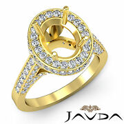 Diamond Engagement Pave F-g Color Ring Oval Semi Mount 14k Yellow Gold 1.3ct