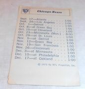 Vintage 1972 Chicago Bears Small Schedule And Roster