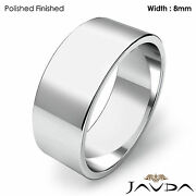 Menand039s Wedding Band Flat Pipe Cut Plain Solid Ring 8mm Platinum 14.4gm 12-12.75