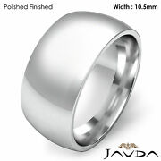 10.5mm Men Wedding Band Solid Dome Comfort Fit Ring 18k Gold White 17.7g 10-10.7