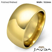 10.5mm Men Wedding Band Solid Dome Comfort Fit Ring 18k Gold Yellow 19.3g 12-12.