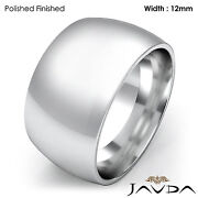 Huge Mens 12mm Solid 18k Gold White Plain Dome Wedding Band Ring 21.8gm 11-11.75