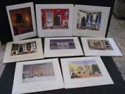 1990s Complete Set Of 8 Bill Clinton White House Christmas Gift Prints