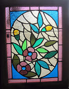 Gorgeous Antique American Stained Glass Windows Floral Architectural Salvage