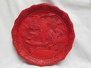 Antique/vtg Red Lacquer Carved Cinnabar Plate Qianlong Mark Brass Bottom
