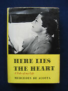 Mercedes De Acosta Here Lies The Heart - Signed By Poet And Playwright De Acosta