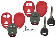 New Red Gm Pontiac Buick Remote Key Fob Case Shell W/ Buttons + Spare Key Pair