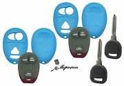 New Teal Gm Pontiac Buick Remote Key Fob Case Shell W/ Buttons + Spare Key Pair