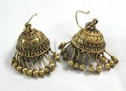 Rare Vintage Antique Ethnic Tribal Solid 18k Old Gold Earring Pair Dangle India
