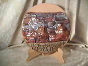 1989 Original Sculptured Clay Pottery Grand Canyon Plate & Easel Milagro Studios