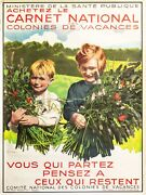 1940s Vintage French Summer Camp Poster Photomontage Kidand039s Room Decor