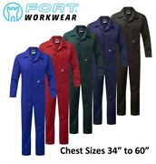 Fort Quality 240 Gsm Zip Front Poly/cotton Coveralls Boiler Suit Overalls 34-60