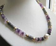 Chunky Fluorite With Handmade Filigree Silver Beads Statement Necklace