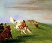 Comanche Meeting The Dragoons American Usa Indian 1834 By George Catlin Repro