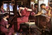 Penelope And The Suitors Sew Sewing Knit Fine Painting By J W Waterhouse Repro