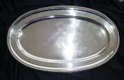 Fine Large Gadroon Edge Solid Silver Tray Czechoslovakia Ca 1922 - 800 Purity