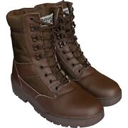 Brown Army Leather Combat Patrol Boots Cadet Military Work Security 905