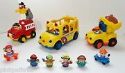 Fisher Price Little People Dump Truck Bus Fire Truck Sounds + Extras Lot Toy Set