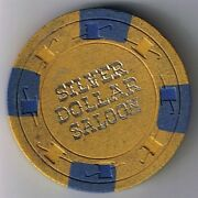 Silver Dollar Saloon 5.00 Hat And Cane Mold Casino Chip 1960's Las Vegas Nevada