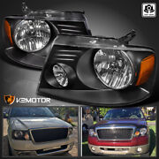 For 2004-2008 Ford F150 Pickup 06-08 Lincoln Mark Lt Black Headlights Lamps L+r