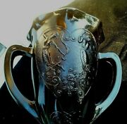 Black Amethyst Le Smith Double Handled Nymph Loving Trophy Vase 7 Tall
