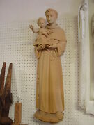 Carved Wood St. Anthony Wall Relief 39 Tall