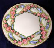 Antique Limoges Hp Ribbons And Roses Dinner Plate Cowell And Hubbard W/ 8 Available