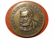 Victor Hugo 1802 Andndash 1885 Romantic French Writer Bronze Medal. M18a