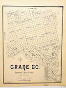 Old Crane County Texas General Land Office Owner Map Oil Wells H.andt.c. R.r.
