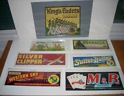 6 Vintage Original Fruit And Vegetable Crate Labels And 1 Can Label