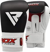 Rdx Leather Boxing Gloves Fight Punching Bag Mma Muay Thai Training Sparring Os