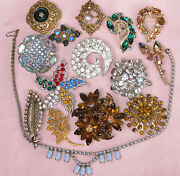 15 Old Vtg Big Rhinestone Brooch Necklace Star Aurora Borealis Florenza Carven