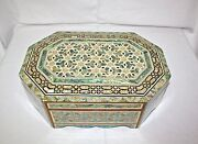 Egyptian Mother Of Pearl Paua Inlaid Jewelry Box 16 X 11.2 Crosses 132