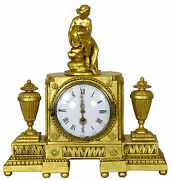 Swc-giltwood Over-mantel Clock With Urns And Statue, Continental, C.1800