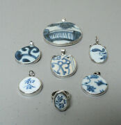 7 Piece Antique Chinese Ming Dynasty Pottery Shard And Sterling Silver Jewelry
