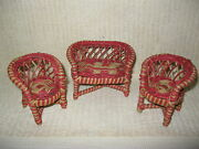 Vintage 1940and039s Wicker Dollhouse Love Seat / Settee 2 Chairs And Table