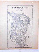 Old San Augustine County Texas Land Office Owner Map Broaddus Benina