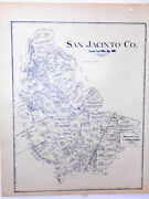 Old San Jacinto County Texas Land Office Owner Map Coldspring Shepherd Cleveland