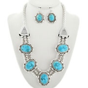 Sterling Silver Turquoise Necklace Earrings Navajo T Ahasteen Designer Inspired