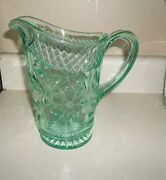 Rare Us Glass Floral Diamond Band Green Depression Pitcher 8 Tall