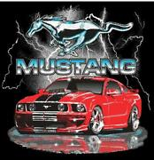 Ford Mustang Kids Navy Blue Lightning Shirt With Red Car Sold Exclusively Here
