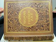 Embroidered Dust Jacket 1890 Antique Leather Book Women French Art Mint Vtg Fine