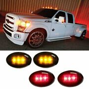 Ford F350 F-series 4pc Led Fender Bed Side Marker Lights Smoked Lens Amber Red